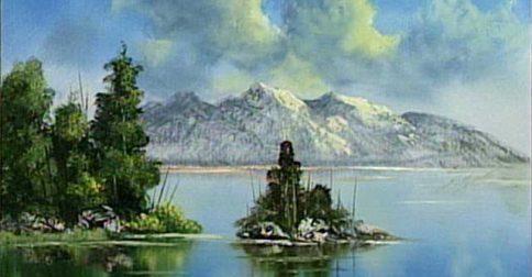 Mountain Lake and Island
