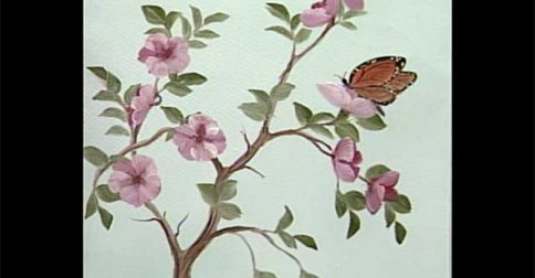 Fruit Blossoms and Butterfly