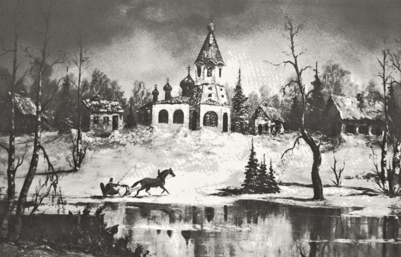 Photo of a winter painting by Bill Alexander recalling his youth in East Prussia