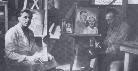Photo of Bill in the art studio his captors made for him while he was a prisoner of war at Marseilles.