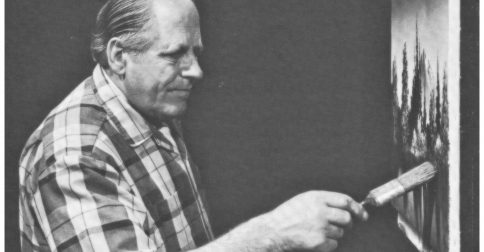 photo of Bill Alexander at the easel