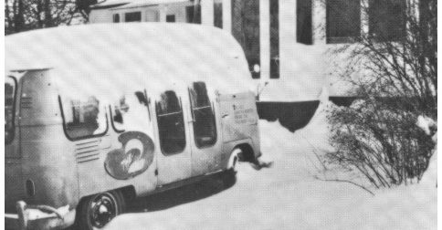 Photo of Bill's snow-covered van in front of his Montreal home.