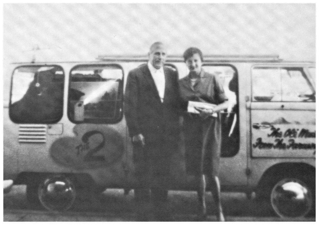 Photo of Bill and Margarete in front of their Volkswagen van